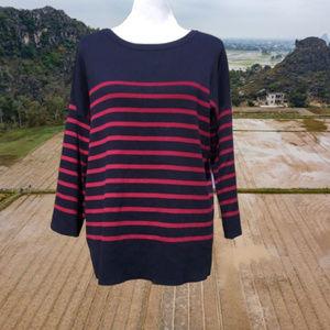 LOFT Open Back Tunic Sweater Striped Long Sleeve